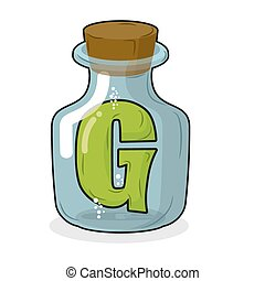 G in bottle for scientific research. letter in a magical vessel with a wooden stopper. Laboratory for experiments and tests.