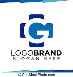 G Initial Letter cross medical logo vector template