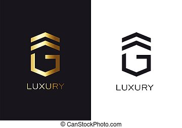 G initial letter gold style. Logo Creation