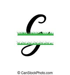 g, initiale, vecteur, monogram, fente, isolé, lettre, herbe