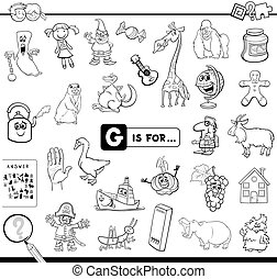 Black and White Cartoon Illustration of Finding Picture Starting with Letter G Educational Game Workbook for Children Coloring Book