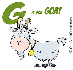 Goat Cartoon Character Letter G