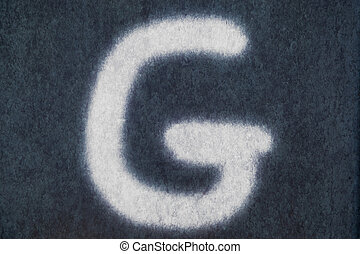G isolated chalk letter in blackboard background