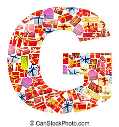 G Letter - Alphabet made of giftboxes