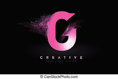 G Letter Logo with Dispersion Effect and Purple Pink Powder ...