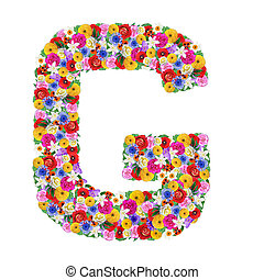 G, letter of the alphabet in different flowers