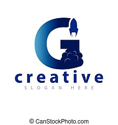 G Letter Rocket logo icon vector template