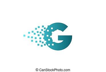 g, logotipo, companhia, gasto, pixel, incorporado, letra ...