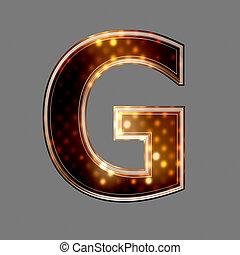 g, lumière, texture, incandescent, lettre, noël
