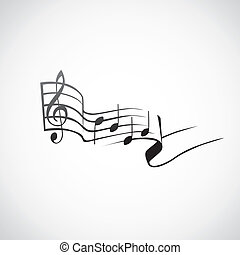 g, -, notas, tato, ilustração, um, tecla, logotipo