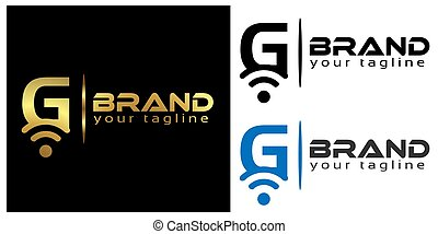 G online logo template, stock logo template.