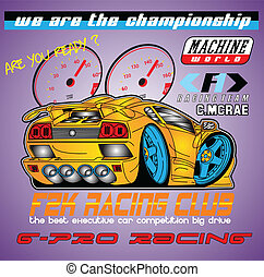 G pro Racing car - illustration for printed shirt and poster