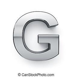 g, render, alfabeto, -, metalic, carta, simbol, 3d