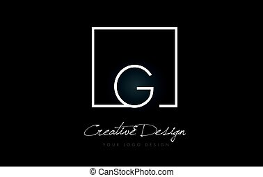 G Square Frame Letter Logo Design with Black and White Colors.