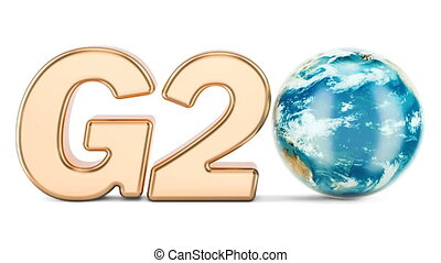 G20 concept Golden inscription with rotating Earth Globe, 3D...
