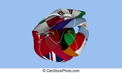 An important representative flag of the G20 countries. Government Meeting. Surface Texture. Background Fabric. Realistic Animation 4K.