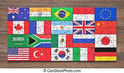 g20, membre, puzzle, drapeaux