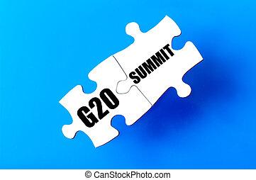 g20, morceaux puzzle, sommet, connecté, mots
