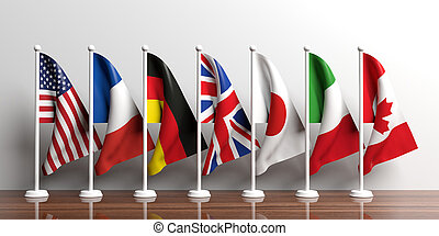 g7-g8, bandeiras, branco, experiência., 3d, ilustração