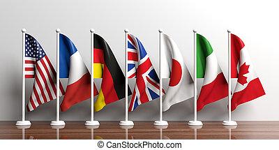 g7-g8, bandery, na białym, tło., 3d, ilustracja