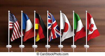g7-g8, vlaggen, op, houten, achtergrond., 3d, illustratie