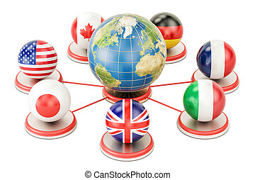 G7 global concept with Earth Globe, 3D rendering