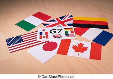 g7, grand, concept, politique, countries., économique, drapeaux, 7, ou, sommet