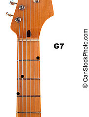 Diagram of how to finger a G7 Guitar Chord.