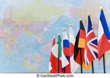 g7, mapa, global, bandeiras, países