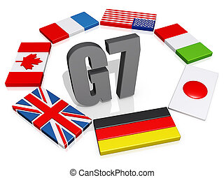 G7 Nations - The text G8 encircled by the member flags.