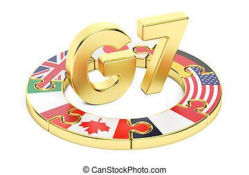 G7 puzzle concept, 3D rendering