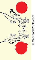 gałąź, drzewo, ptak, wektor, sylwetka