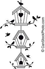 gałęzie, birdhouses, drzewo