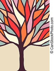 gałęzie drzewa, ilustracja, barwny
