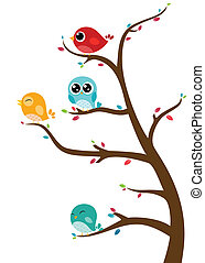 gałęzie, ptaszki, posiedzenie