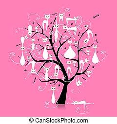 gałęzie, sylwetka, drzewo, koty, projektować, biały, twój
