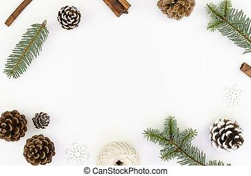 gałęzie, tło., biały, stożki, boże narodzenie, jodła, przestrzeń, kopia, płaski, pieśń, chorągiew, composition., mockup, sosna, ułożyć