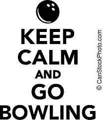 gaan, bewaren, kalm, bowling