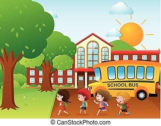 gaan, bus, school geitjes