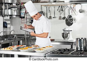 gaan, controlelijst, het koken, kok, klembord, door