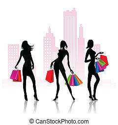 gaan, dames, shoppen
