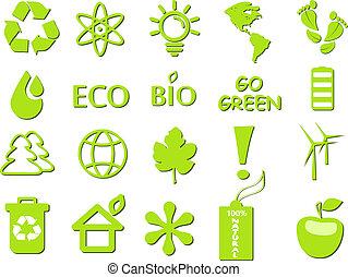 gaan, ecologisch, set, groene, pictogram