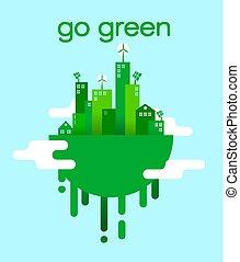 gaan, groene, concept, van, eco, vriendelijk, stad, levensstijl