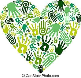 gaan, groene, handen, liefdehart