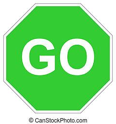 gaan, groene, meldingsbord
