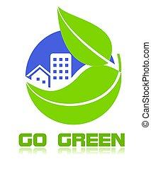 gaan, groene, pictogram