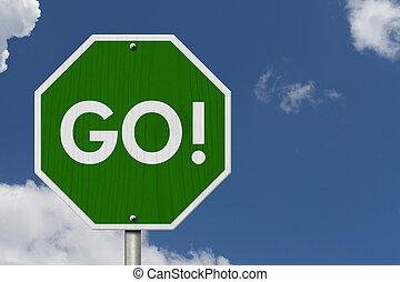gaan, groene, snelweg, wegaanduiding