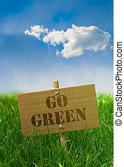 gaan, groene, tekst, geschreven, op, een, karton, plank, gras, blauwe hemel