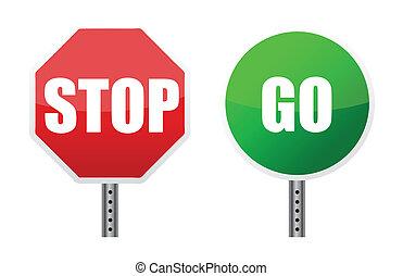 gaan, illustraties, stopteken