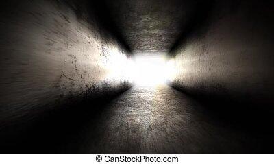 gaan, licht, tunnel., einde, hoop